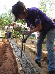Filling in the footer with concrete
