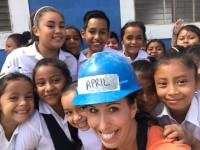April visits Maria Jose's school