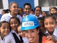 April visits Maria Jose's school
