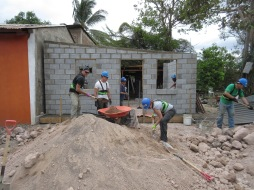 Backfilling the floor inside the house