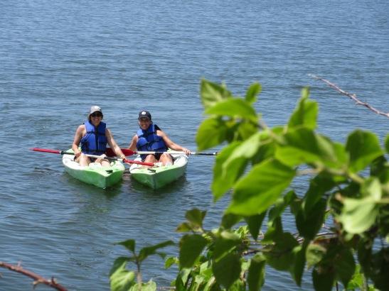 Nat and April kayaking